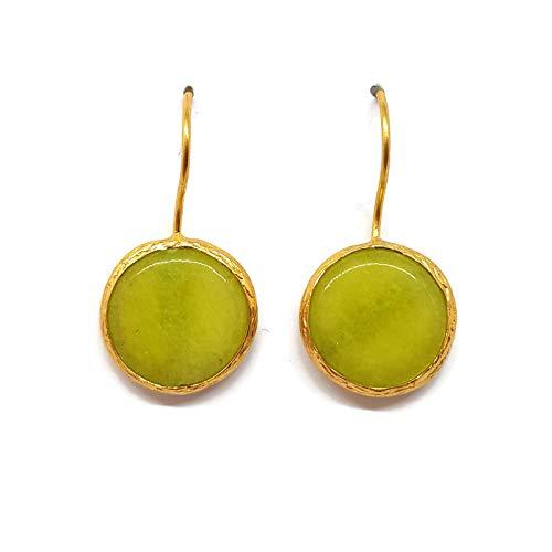 19 - Mystic Jewels by Dalia - Pendientes Largos Redondos con Piedra Natural Mujer Fiestas Boda, Varios Colores (Verde)