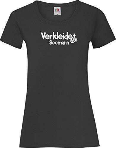 Lady-Shirt Verkleidet als Seemann Karneval Fasching Kostüm Verkleidung, schwarz, XL