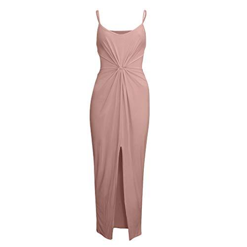 KItipeng Kleider Damen Eng Sommerkleider Elegant Sexy Modisch Spaghettiträger Plissiert Split Strandkleid Abendkleid Lang