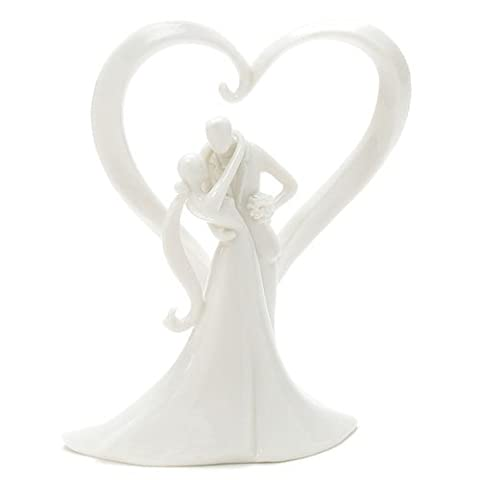 Toppers / Cake Decoration Bride and Groom, With Love Heart made of white porcelain
