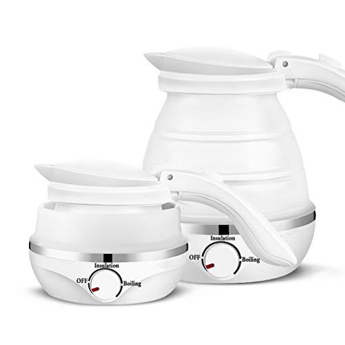 Wenhui Faltbarer elektrischer Reisekessel-Doppelspannungslebensmittelgradsilikon, trockener Schutz Kochen, 0,5 Liter, weiß