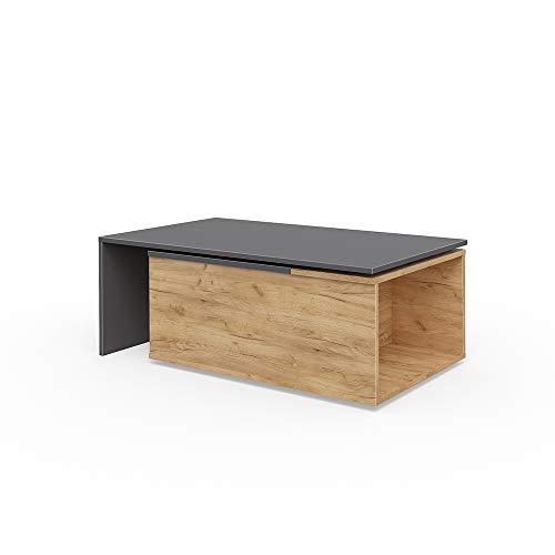 Vicco Couchtisch Leo 60x100 cm Wohnzimmertisch Beistelltisch Kaffetisch Holztisch +++ INKL DREHBARER Platte UND EXTRA STAURAUM +++ (Anthrazit/Sandeiche)