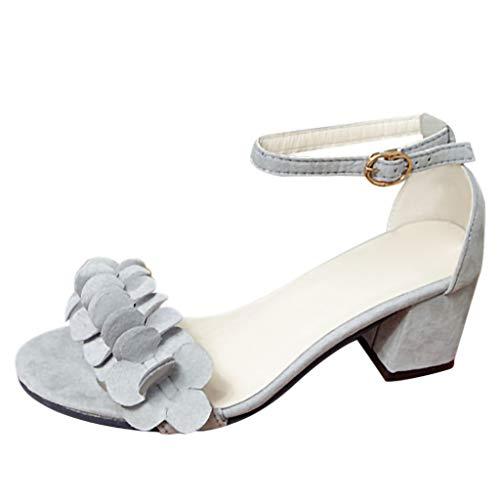 Studio Damen Schwarz Heels Sandalen (Vovotrade Damen Riemchensandale,Blume Sandale,Sandalette,Sommerschuh,Absatz, Schwarz, Pink, Grau 35-40)