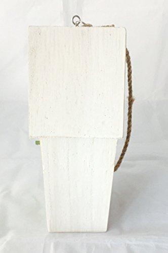 Vogelhaus Nistkasten aus Holz grün zum hängen mit Schmetterlingen mit herausnehmbarem Innenteil und Futtertrog innen, 25cm x 9cm x 8cm Gesamtlänge ca. 50cm dank Kordel zum hängen, - 7