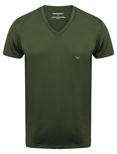Emporio Armani T-Shirt V-neck mit EA Logo - Grün, Kleidungsgröße:XL (Grünen T-shirt Armani)