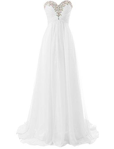 JAEDEN Abendkleid Lang Chiffon Ballkleid Brautjungfernkleid Trägerlos Damen Weiß EUR40