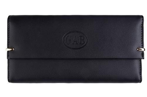 GAB Damen Geldbörse Premium Groß Leder Portemonnaie schwarz für Kreditkarten mit Münzfach -