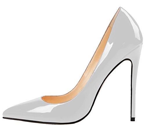 MONICOCO Übergröße Damenschuhe Spitze Zehen Stiletto Pumps für Party Hochzeit A-Grau Lackleder