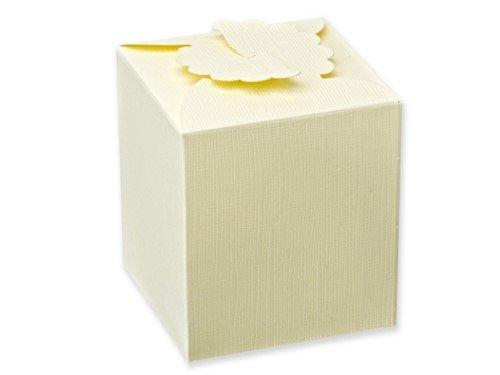 Preisvergleich Produktbild 10 Stück Kartonage Viereck mit Blume Seta elfenbein, 8 x 8 x 9 cm, Gastgeschenk Geschenkverpackung Hochzeit Weihnachten Taufe