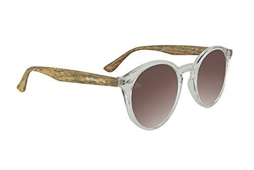 The Wrong Way Sonnenbrille in Holzoptik mit rosafarbenen Spiegelgläsern. Stoß- und formbeständiger Rahmen Inklusive faltbarem Etui und Umhängeband