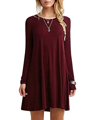 YOINS Sommerkleid Damen Tunika Tshirt Kleid Bluse Kurzarm MiniKleid Maxikleid Rundhals Langarm-Rotwein EU44 -