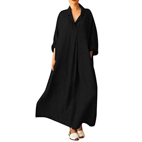 iLPM5 Frau GroßE GrößE Lange ÄRmel Revers Hals BettwäSche Aus Baumwolle ÜBergrößE Lange Maxi Hemdkleid Mit Taschen(schwarz,XXXXL)
