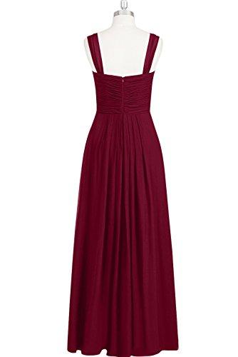 Ivydressing Damen Einfach A-Linie viereckige Kragen Falte zwei regulaer  Traeger Lang aermellos Chiffon Abendkleid ...