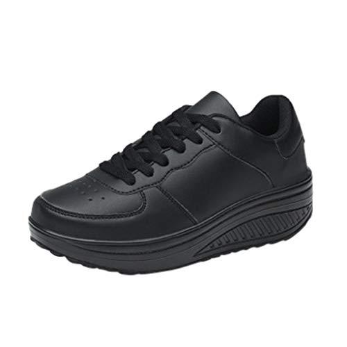 er Frauen Normallack-Plattform schütteln Schuhe Student Plattform Schuhe Fitness Laufschuhe Damen Stricken Socken Spitze Sportschuhe leichte Freizeitschuhe ()