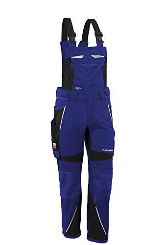 Grizzlyskin Latzhose Iron - Workwear Arbeitshose für Männer & Damen, Unisex Blaumann, Codura-Schutzhose mit vielen Taschen & Schnittschutz, Kornblau/Schwarz, Größe: N52