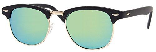 Cheapass Sonnenbrille Clubmaster Schwarz Gold Verspiegelt Retro Damen Herren