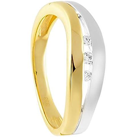 Diamond Line–Anello in oro giallo 8carati (333), con 3brillanti circa 0,07ct Diamante. Da donna Bianco Piquè (W Flash pi) - Giallo Tensione In Oro Anello