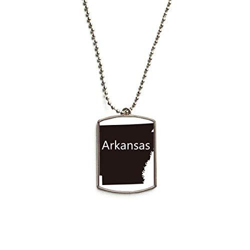 QQJSY Halskette mit Anhänger aus Edelstahl mit Motiv der Karte von Arkansas Amerika USA -