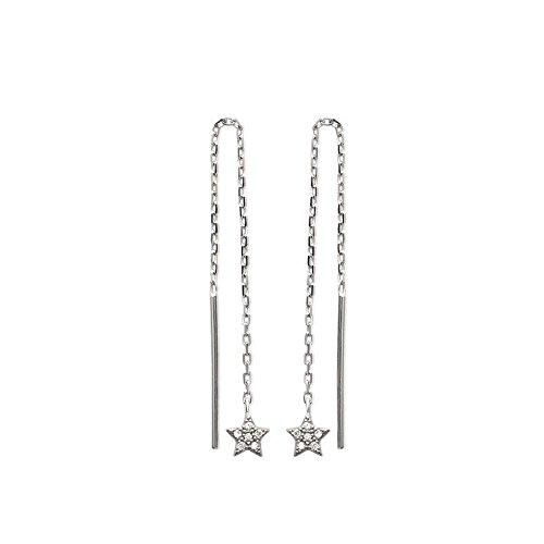 MARY JANE-Orecchini da donna in argento, altezza: 62 mm, in argento rodiato 925/000 e zirconi, con pendenti a forma di stella,)