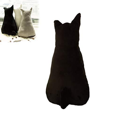 1 x lustiges Kissen in Katzenform, gefülltes Tierkissen für Sofa, Stuhl, Plüsch, Plüsch-Spielzeug, Puppen für Heimdekoration, Geschenk für Kinder (Schwarz, 45 cm)