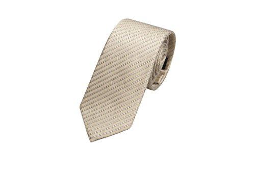 Notch Schmale Krawatte aus Seide für Herren - Dünne weiße Streifen auf grauem Champagne (Seide Streifen Grau Weiß)