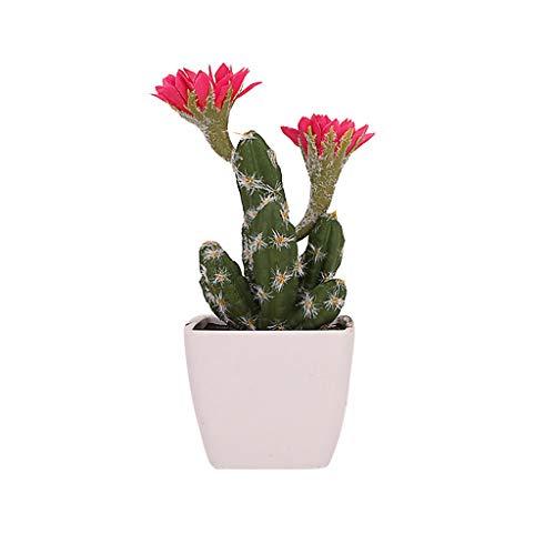 Lucky Mall Büro Dekoration 1 Stück Künstlicher Kaktus, Kunstblumen Künstlicher Grüne Topfpflanze Wohnaccessoires Blühender Kaktus