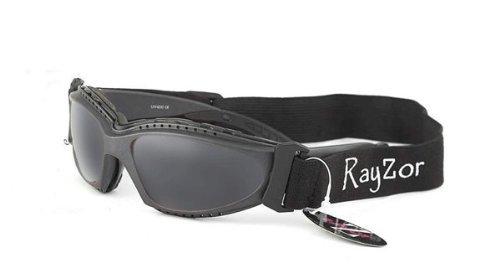 Rayzor Professionelle UV400 Grau meliert 2 In 1 Radfahren - MTB-Sonnenbrille / Schutzbrille, mit einem Antibeschlagbehandeltes Smoked Blend Clarity-Objektiv und eine abnehmbare, elastische Stirnband & Innenschaumstoffpolsterung
