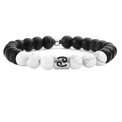 Sternzeichen Armband Natursteine Perlen 12 Konstellation Elastische Armbänder Horoskop Armband Für Frauen Und Männer Krebs