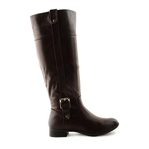 Pour femme à talon bas bloc matelassé Fermeture Éclair latérale jusqu'à la longueur du genou pour Femme Fille Hiver Bottes Chaussures Celebrity Jewellery Boucle Marron - Marron