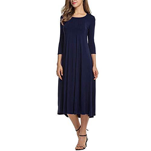 Xmiral Damen Kleid Herbst Halbe Hülse O Ansatz Lose Strand Beiläufiger Rock Damen Elegante Abend Lange Kleider (3XL,Marine) -