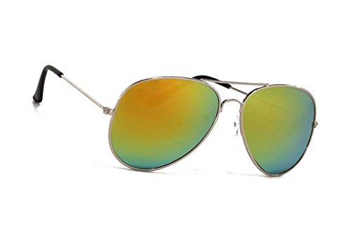 Kinder Sonnenbrille Für Jungen Mädchen Metall Pilotenbrille Silberfarbene Spiegelnde Gläser...