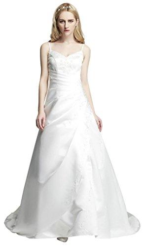 Hochzeits-shop-hamburg WD0908 Brautkleid mit spagettiträger bestickt, Schnürung u. Schleppe Weiß...