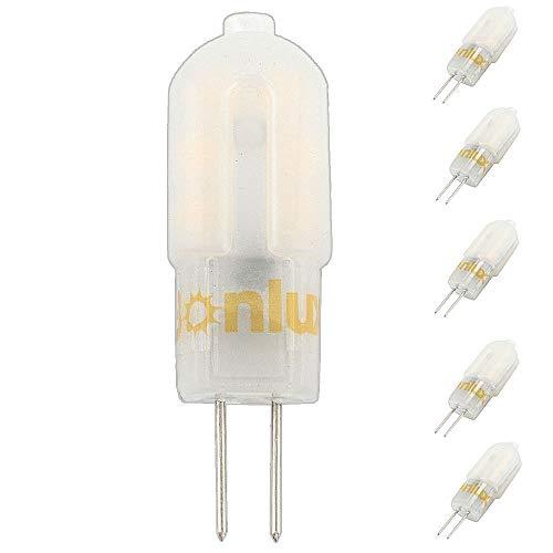 Bonlux 5-Packs 3W 12V LED G4 de dos patillas de la bombilla del blanco caliente 3000K 12 PCS LED SMD2835 G4 cápsula halógena de 25W Bombilla de recambio