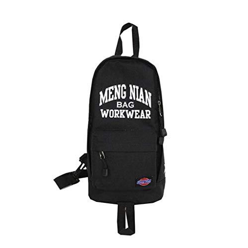 Groß Hochwertig Sling Bag Leinwand Wasserdicht Sling Rucksack Outdoor Printing Messenger Bag Jungen Lässig Brusttasche Radfahren Umhängetasche (Schwarz) (Color : Schwarz, Size : -)