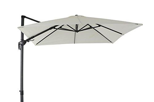 OUTFLEXX Ampel-Sonnenschirm in Creme/Anthrazit Balkonschirm aus Aluminium, Gartenschirm ca. 300x300 cm, inkl. Plattenständer, Terrassenschirm mit Kurbel, Balkon-Schirm