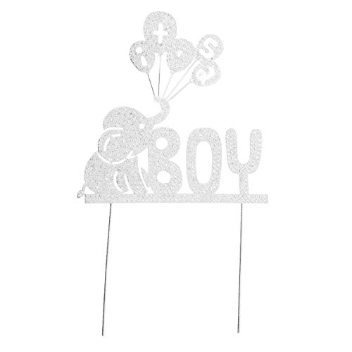 n Topper Strass Elefant Cupcake Picks Kuchendekoration Tortenstecker Kuchendeckel für Junge Baby Taufe Baby Dusche Kinder Geburtstag Party Deko (Silber) ()