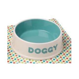 Petface Doggy Ceramic Bowl, 13 cm, Cream/Aqua