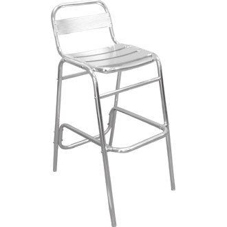 Giardino/Cortile Sgabello di bar/sedia con schienale alluminio (Set di 4)
