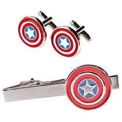 Pack Pasador de Corbata Gemelos para Camisa Capitán América