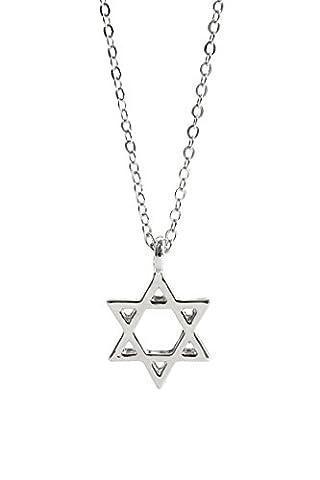 Remi Bijou - Wunderschöne Halskette Kette Anhänger Davidstern Kabbala Israel Jüdisch Stern von David Juden (Silber)