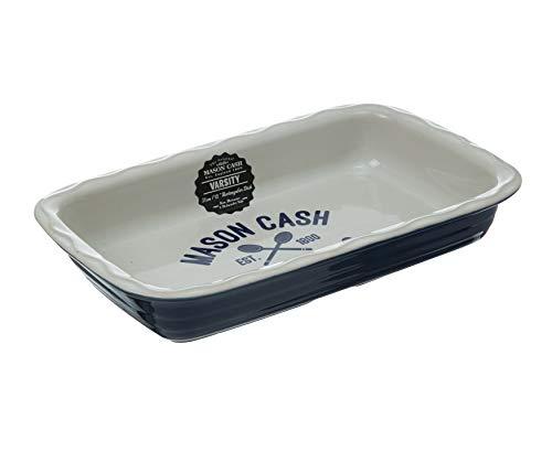 Mason Cash Varsity rectangulaire Plat à Tarte, Bleu/Blanc, 31 cm