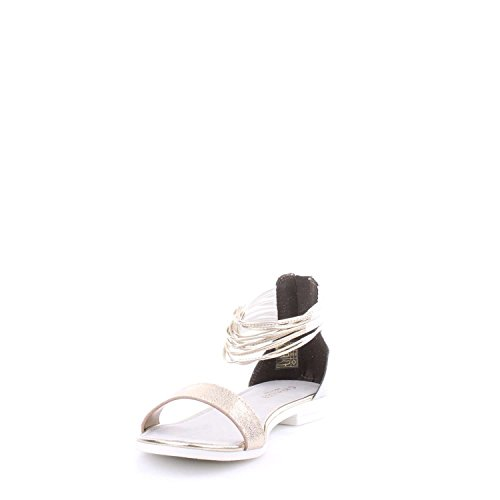 Sandalo Cafè Noir GF620 in laminato con cavigliera nero/argento Bianco/Oro