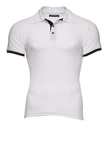 Kayhan Herren Poloshirt Hemd S-5XL Slim Fit Bügelleicht, Super Modern, Super Qualität Weiß/Schwarz