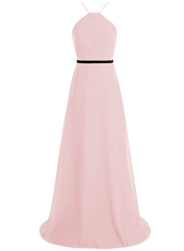 Bbonlinedress Robe de demoiselle d'honneur longue forme empire style halter Rose