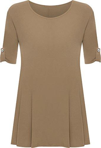 PaperMoon - Damen Übergröße Rundhalsausschnitt Kurzarm Ausgestelltem Lange Top - Mokka - 44 / 16 Couture Swing