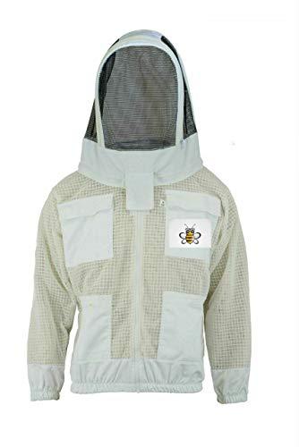 Bee Jacket Bee 3 Layer Sicherheit Unisex Weiß Stoff Mesh Imkerei Jacke Imkerei Fechten Schleier Schutzkleidung Imkerei Kleidung Imkerei Schutzkleidung Belüftete Biene-XL -