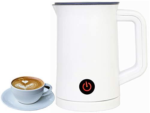Milchaufschäumer | Elektrischer Milchschäumer | Magnetischer Milchaufschäumer | Automatischer Milchaufschäumer | 500 Watt | Doppelte Anti-Haft-Beschichtung | Für 300 ml Milch geeignet (Weiß)