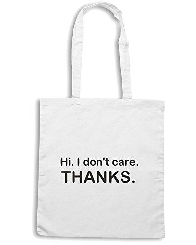 T-Shirtshock - Borsa Shopping TDM00092 hi i don t care thanks Bianco