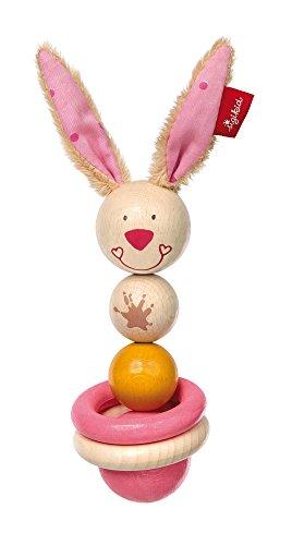 Sigikid 75069 Holz-Greifling Bungee Bunny, Rosa, 21 x 6 x 6 cm (Bungee-baby)