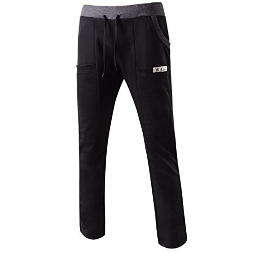 Men's Long Casual Joggers Trousers Black White